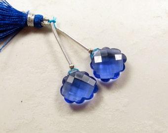 Rose Cut Carved Sapphire Blue Quartz Briolette Beads , Matched Pair ,