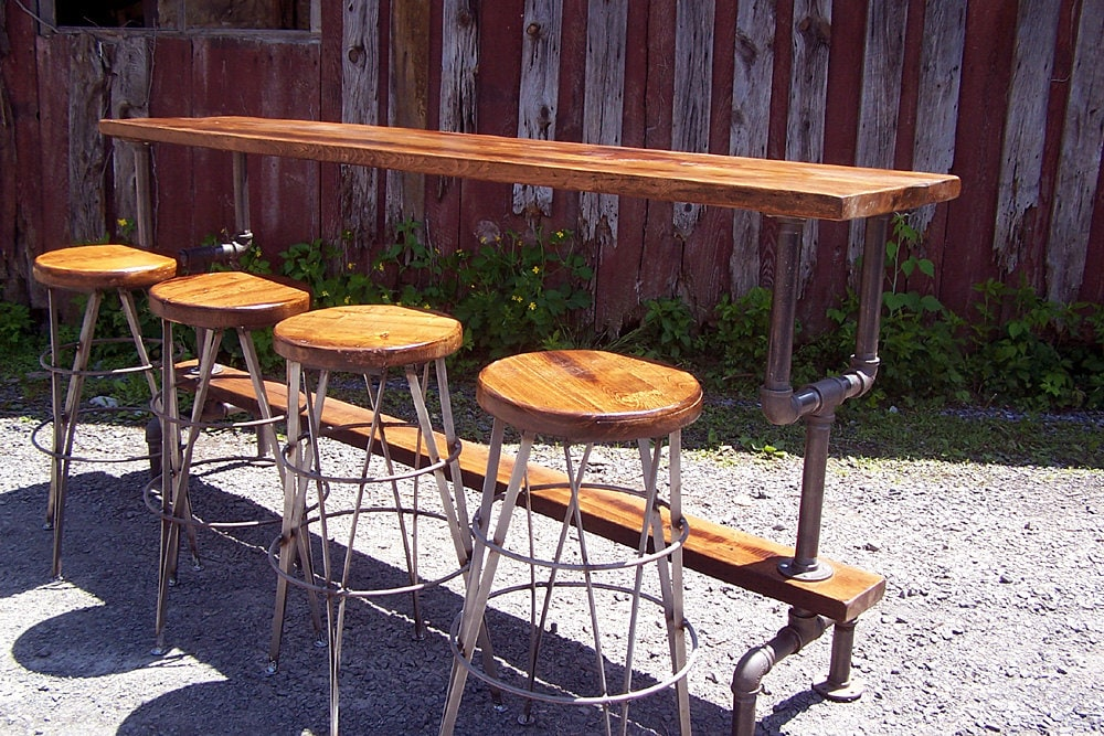 Industrial Style Bar Height Table With A By Barnwoodfurniture