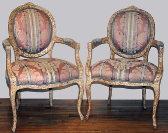 Design your Own Vintage Pair of Victorian French Bergere Chairs