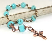 Anglican / Protestant Rosary Prayer Beads - Turquoise & Copper Pocket Rosary