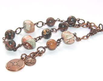 Meditation Prayer Beads, Jasper & Copper, Labyrinth and Om Symbols / Men's Prayer Beads