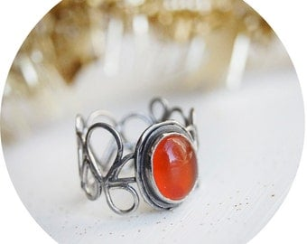 Sterling Silver Teardrop Oxidized Ring Oval Carnelian 8x10mm, for her, Birthday gift, all US sizes, unique