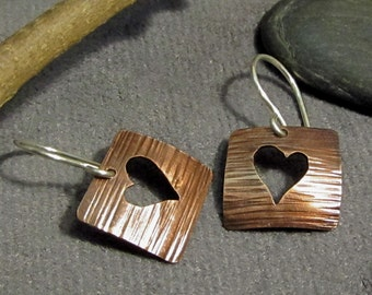 Earrings Hand Forged Copper and Argentium Silver