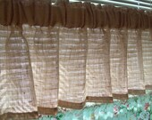 "LINED 52"" x 16"" Custom  BURLAP Valance with 3"" Wide Rod Pocket  Natural 100% JUTE Fits Window 34"" wide Country Farmhouse Curtains"