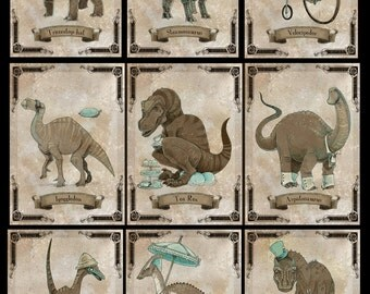 SteamPUNk Dinosaur set of NINE small prints
