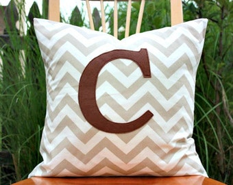 Monogrammed Taupe and White Chevron Pillow Cover - Brown Monogram - 20 x 20
