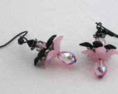 Pink and Black Plumeria Lucite Flower Drop Victorian Crystal Earrings
