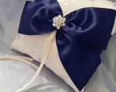 Snowflake Ring Pillow Silver Snowflakes Navy Blue Ivory Ring Bearer Pillow Winter Wedding Rhinestone Accent