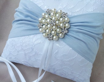 White Ring Bearer Pillow Lace Light Blue Ring Pillow Pearl Rhinestone Accent