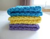 SALE - Crocheted Cotton Dish Cloth Set in Blue/Aqua, Yellow & Purple
