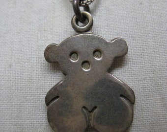Teddy Bear Sterling Silver Necklace Vintage Pendant 925