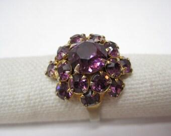 Amethyst Rhinestone Cluster Ring Adjustable Gold Vintage