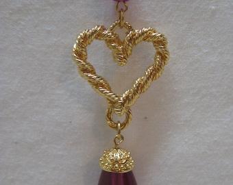 Heart Purple Necklace Gold Dangle Vintage Pendant Avon