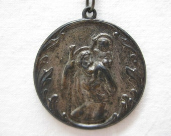 Shabby Pallottine Fathers Mission Crusade Necklace Silver Vintage Pendant