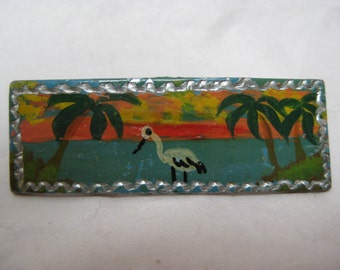 Bird Palm Trees Sunset Brooch Silver Vintage Pin Tropical
