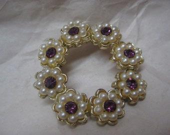 Flower Purple Pearl Rhinestone Brooch Amethyst Gold Vintage Pin