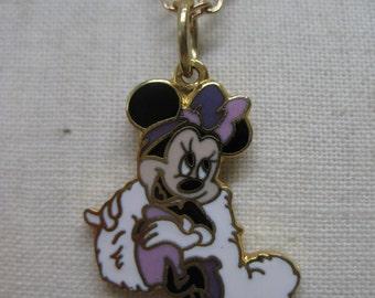 Mini Mouse Purple Enamel Necklace Gold Vintage Pendant