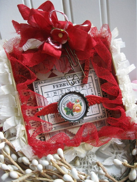 Vintage style valentine shadowbox ornament gift decoration for Arland decoration