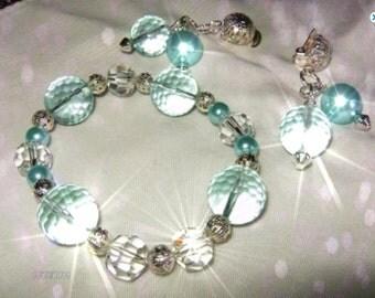 AQUA  Big Bold Bracelet and Earrings. Clip earrings
