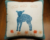 Baby Blue Lamb Pillow, original block print, hand embroidered linen pillow