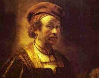 Self Portrait 1650 by Rembrandt - a Frameable Vintage 1953 Art Print