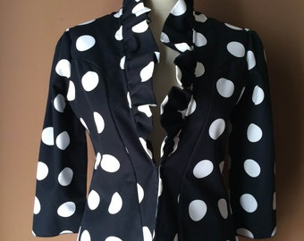 Dots - Handmade Jacket with Ruffles and 3/4 Sleeves - Black and White Cotton