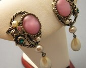 Vintage Earrings Pink Dangle Retro Jewelry Forties E5598