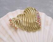 Vintage Heart Brooch Red AB Rhinestones P5938