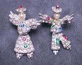 Vintage Rhinestone Scatter Pins Brooch Set Jointed Figurals P4463