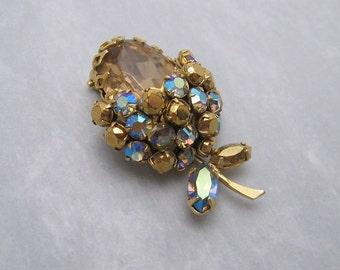 Vintage Rhinestone Acorn Fur Clip Schreiner Jewelry P5660