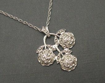 Sterling Art Deco Rose Pendant Vintage Necklace Marcasite Rose NK53