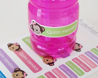 monkey girlpersonalized dishwasher safe labels, set of 36