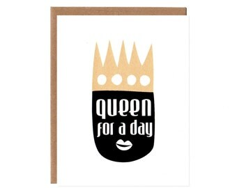 Queen For a Day -- Graphic Black and Gold Mother's Day Card