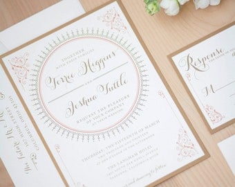 Coral and Gold Invitation, Romantic Wedding Invitation, Art Deco inspired, Vintage Elegance Invitation DEPOSIT