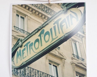 CLEARANCE SALE! Paris Photography, Architecture, Art Nouveau Metro Sign Photo - Parisian Weekend