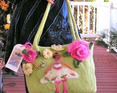"Christmas Dancing Girl Ballerina Bag - A Hand-knit, Felted Bag in a Ballet Theme  25% discount on all items, use code""XAMS16"" at checkout."