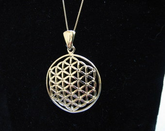Authentic 14k Gold filled Large Flower of Life Pendant Necklace, Sacred Geometry Charm
