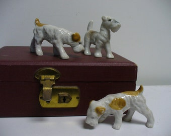 Trio of Dog Figurines