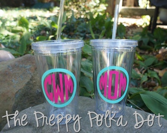 Personalized 16oz Acrylic Straw Cup With Monogram - Simple Design - CLEAR