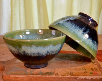 Rice bowl ceramic, stir fry asian cusine, cereal stoneware, glazed in green gray, handmade by hughes pottery