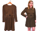 Chocolate Brown Dress - Womens Babydoll Dress - Long Sleeve Dress