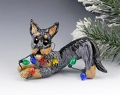 Beauceron Harlequin Christmas Ornament Figurine Lights Porcelain