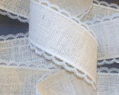 2.5 inch IVORY Burlap Ribbon with Ivory Lace
