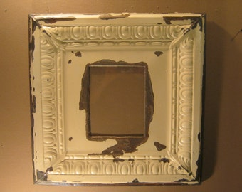 "AUTHENTIC Tin Ceiling 8""x10"" WHITE Picture Frame Reclaimed Photo S1042-13"