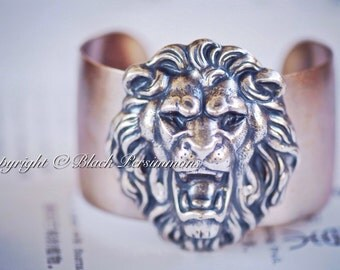 OOAK - The Kingdom of Lions & Lionesses Cuff No.2 - Antique Sterling Silver Plated Brass Lion Head Filigree - Made in USA Components Riveted
