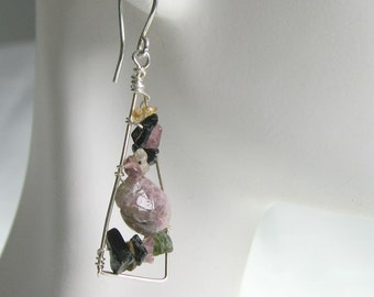 Tourmaline Chip Dangle Wire Wrapped Earrings in Sterling Silver October Birthday