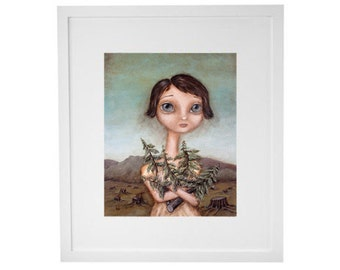 The Tree Hugger - art print, painting, giclee, portrait