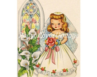 Wedding 36 Sweet Bride and Church Window a Digital Image from Vintage Greeting Cards - Instant Download