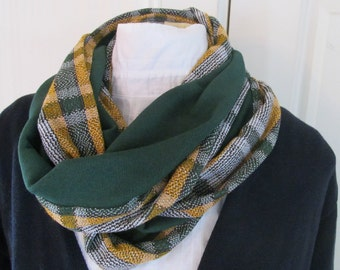 Mustard Green Plaid Edge Forest Green Infinity Scarf for Men or Women