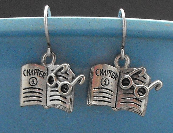 Book with Glasses Earrings Dangle Bookish Readers Literary